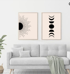 SET BLACK ABSTRACT SUN & MOON