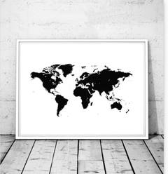 CUADRO WORLD MAP BLACK