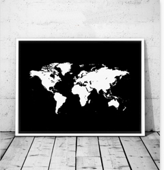 CUADRO WORLD MAP WHITE