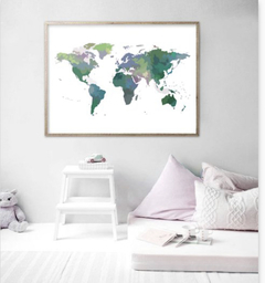 CUADRO WORLD MAP POWERFUL GREEN