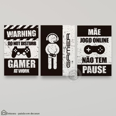 Trio de placas decorativas Gamers (mod 4) na internet