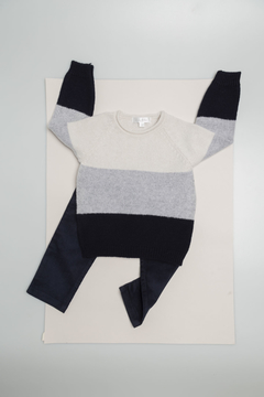 Sweater rayas azul/gris/crudo