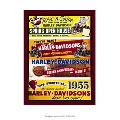 Poster Vintage Motorcycle - Harley Davidson - QueroPosters.com