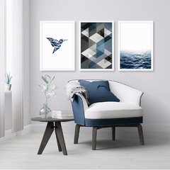 Kit de quadros Geometric Truly Fly Blue - comprar online