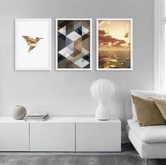 Kit de quadros Geometric Truly Fly Gold