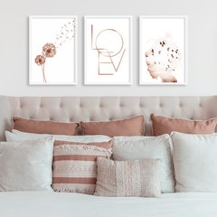 Kit de quadros Trio Geometrico Love Clean V