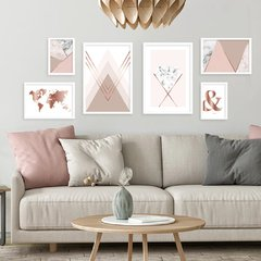 Kit de quadros Geometric Clean Rose II
