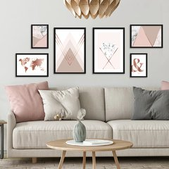 Kit de quadros Geometric Clean Rose II - comprar online