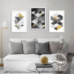 Kit de quadros Geometric Black Gold - comprar online