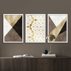 Kit de quadros Elegance Gold Brown Trio - comprar online