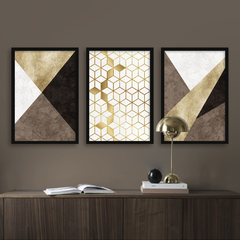 Kit de quadros Elegance Gold Brown Trio