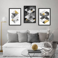Kit de quadros Geometric Black Gold
