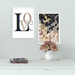 Kit de quadros Love Geometrico Gold