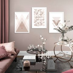 Kit de quadros Geometric Classic Rose III