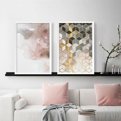 Kit de quadros Abstrato Rose Duo
