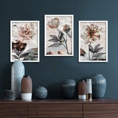 Kit de quadros Flores Abstratas III - Quadros decorativos | Pirilampo Decor
