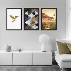 Kit de quadros Geometric Truly Fly Gold - comprar online