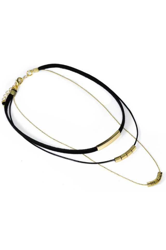 Colar Chocker Alicia Preto com Correntes Ouro