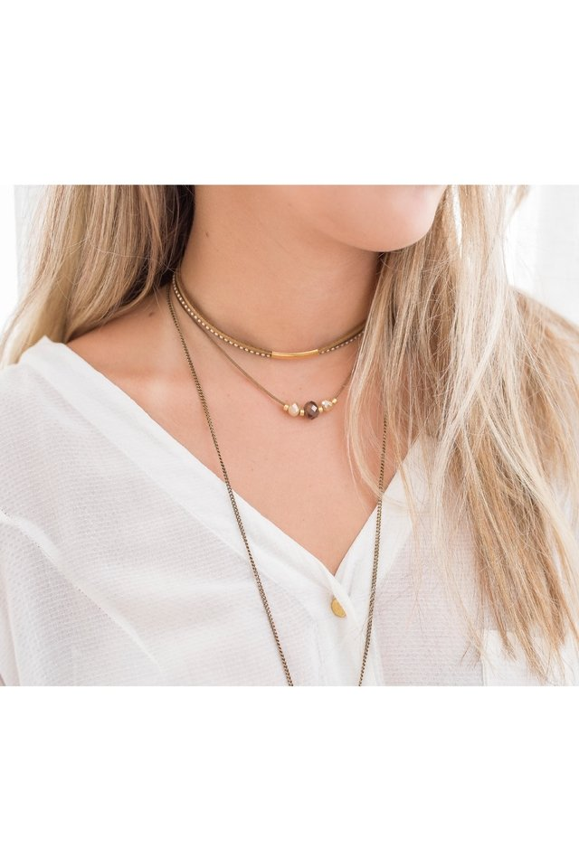 Colar Chocker Angelita com Cristal Marrom Ouro - Larissa Carolina