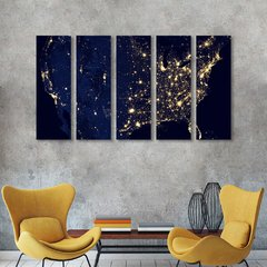 Quadro Mosaico Decorativo Luzes do Planeta Nasa 5 Telas