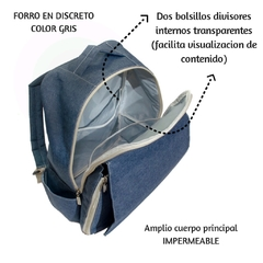 Mochila Maternal LUCIO Azul Denim en internet