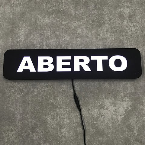Placa Letreiro Luminoso Led - Aberto