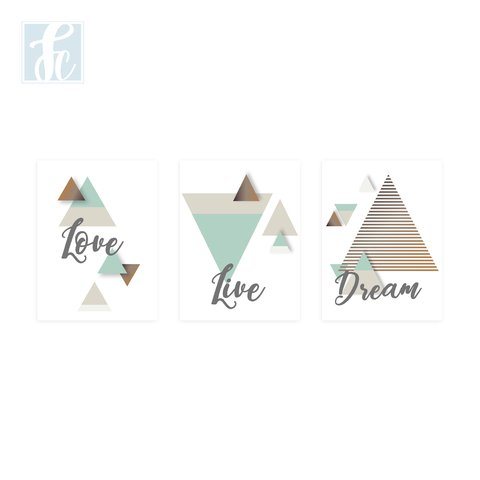Placa Decor Kit Trio - Love, Live, Dream - comprar online
