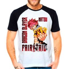 Camiseta Raglan Anime Fairy Tail Natsu Dragneel Guilda Ft