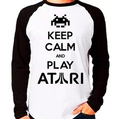 Camiseta Keep Calm And Play Atari Raglan Manga Longa