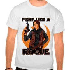 Camiseta Star Wars Rogue One Fight Like A Rogue Branca Masc.