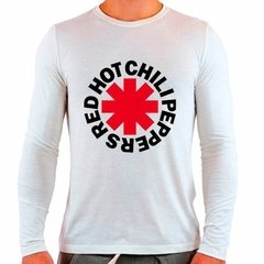 Camiseta Branca Longa Red Hot Chili Peppers Rock