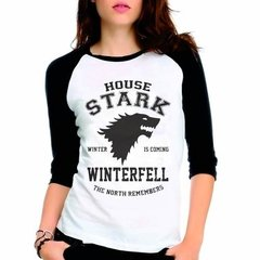 Camiseta Game Of Thrones Got House Stark Raglan Babylook 3/4