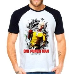 Camiseta Anime One Punch Man Saitama Raglan Manga Curta