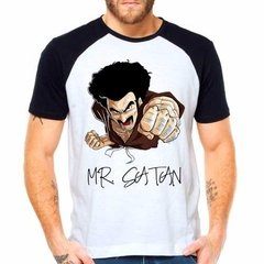 Camiseta Mr. Satan Dragon Ball Dbz Raglan Manga Curta