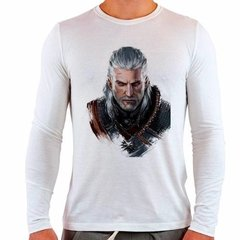 Camiseta Branca Manga Longa The Witcher 3 Geralt