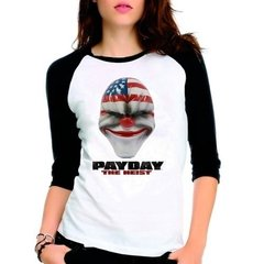 Camiseta Pay Day Payday The Heist Raglan Babylook 3/4