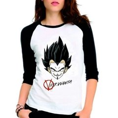 Camiseta Dragon Ball Z V For Vegeta Raglan Babylook 3/4