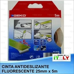Cinta Antideslizante Fosforescente Intemperie 25mm X 5m Geko