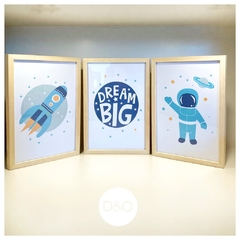 Set cuadrito infantil cohete + dream big + astronauta