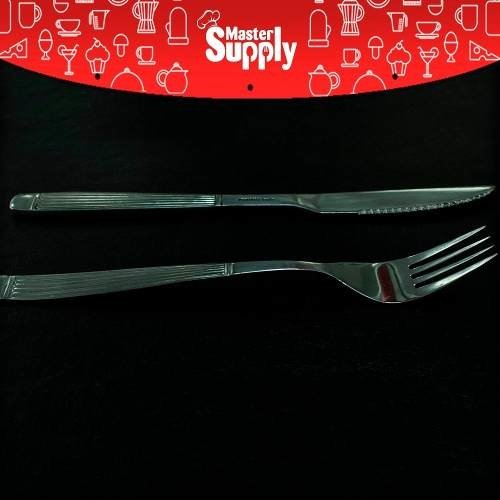 Set 24 Cubiertos Rayados Tenedor Cuchillo Acero Inoxidable - Master Supply