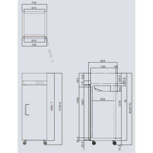 Freezer Vertical Gastronomico 1 Puerta Acero 665 Lts - Master Supply