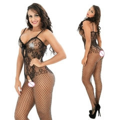 Meia Arrastão Preto Bodystocking de Rendas na internet