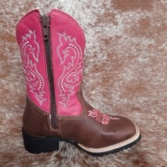 Bota Infantil Mr West Tabaco/Pink - Texas Rodeo Store