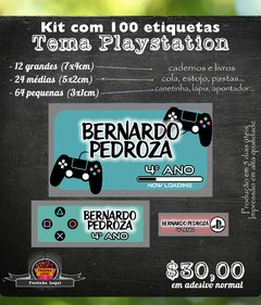 100 etiquetas material escolar Playstation video game