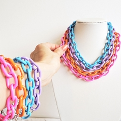 Choker e Pulseira Correntaria Colors