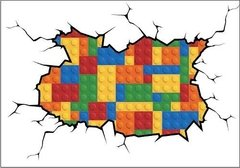 Vinilo Decorativo Pared Rota Lego. Wall Sticker - comprar online