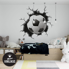 Vinilo decorativo  Pelotazo pared rota futbol en internet