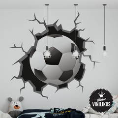 Vinilo decorativo  Pelotazo pared rota futbol