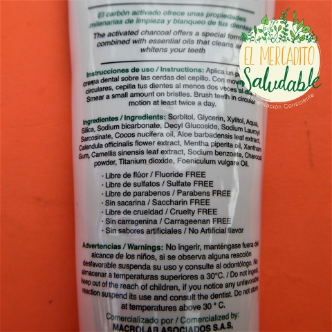 Crema dental con Carbón Activado - Soulseed - El Mercadito Saludable
