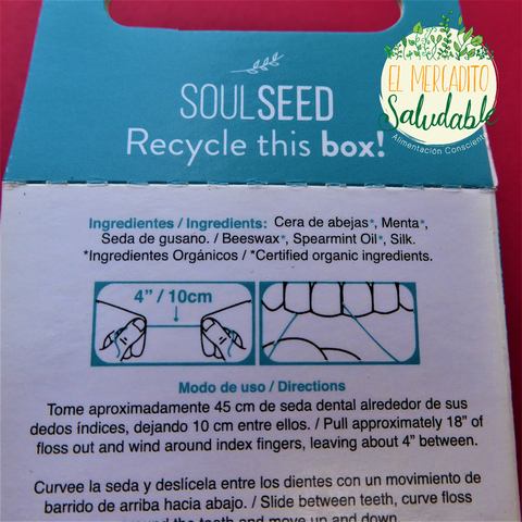 Seda Dental Biodegradable Orgánica- Menta - Soulseed - El Mercadito Saludable